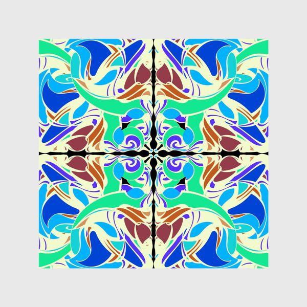 Шторы «Абстрактный голубой узор в восточном стиле, паттерн в стиле модерн, мандала, орнамент»