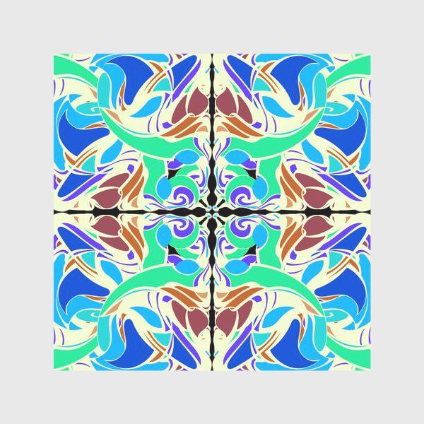 Скатерть «Абстрактный голубой узор в восточном стиле, паттерн в стиле модерн, мандала, орнамент»