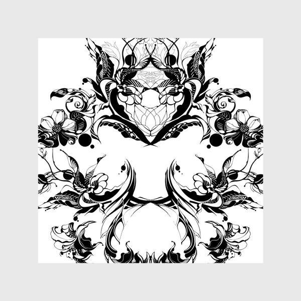 Шторы «Абстрактный узор из цветов на белом фоне, венок в стиле модерн»