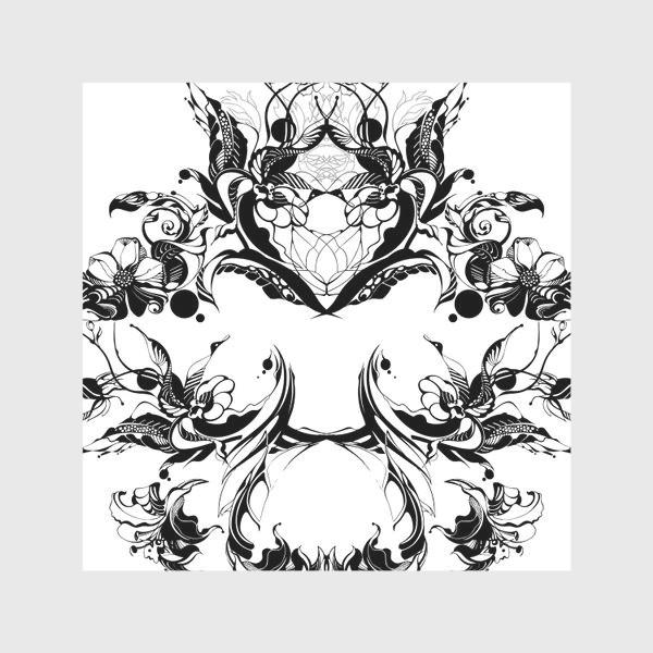Скатерть «Абстрактный узор из цветов на белом фоне, венок в стиле модерн»