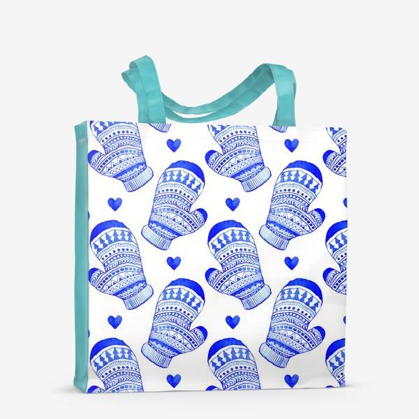 Сумка-шоппер «Зимние варежки акварель»