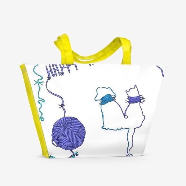 Пляжная сумка «Happy New Year. Текстильный паттерн»