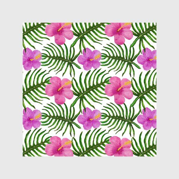 Шторы «Palm Leaves and Hibiscus Гибискус Пальмовые Листья»