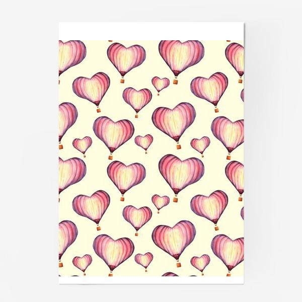 Постер «Паттерн с воздушными шарами в форме сердца на ванильном фоне»