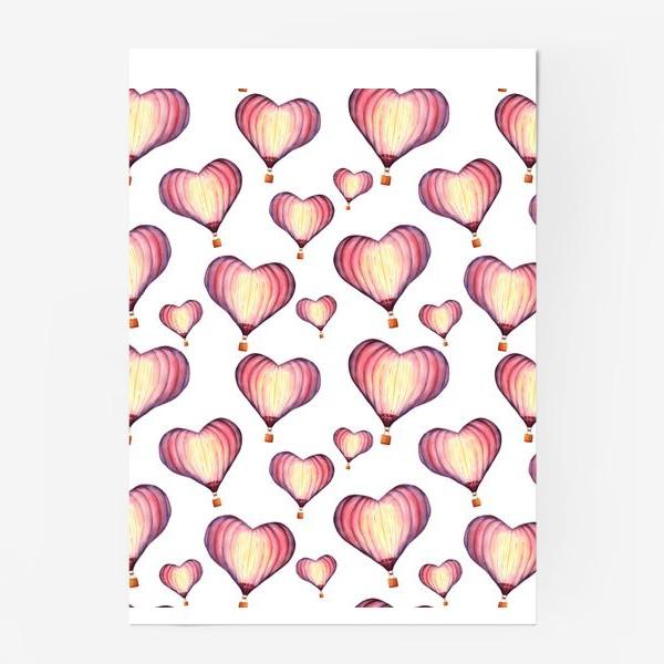 Постер «Паттерн с воздушными шарами в форме сердца »