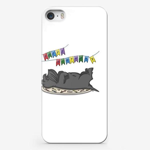 Чехол iPhone «С Днем рождения. Торт и шотландский скотч терьер»