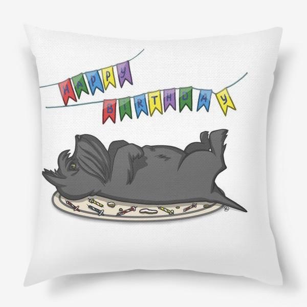 Подушка «С Днем рождения. Торт и шотландский скотч терьер»