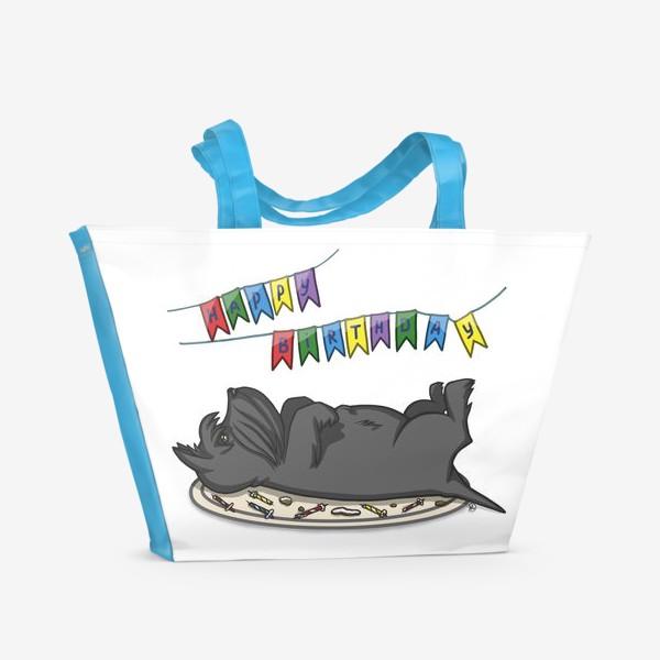 Пляжная сумка «С Днем рождения. Торт и шотландский скотч терьер»