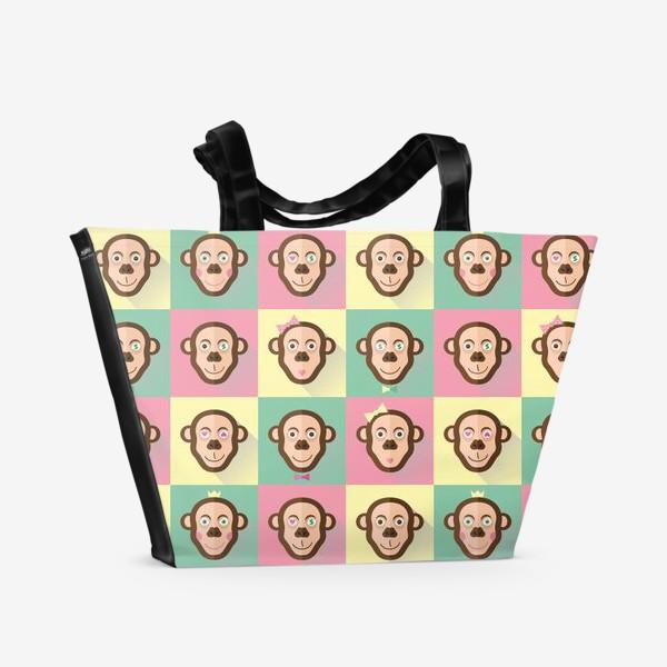 Пляжная сумка «Паттерн обезьяны»
