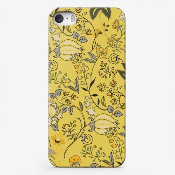 Чехол iPhone «Паттерн с желтыми абстрактными цветами»