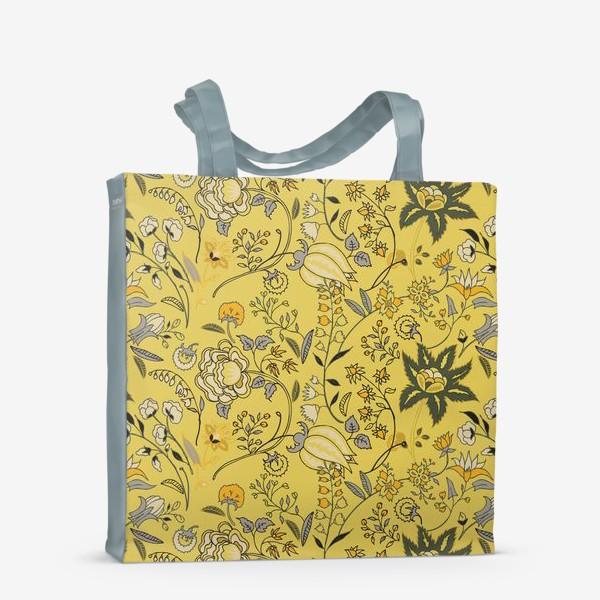Сумка-шоппер «Паттерн с желтыми абстрактными цветами»