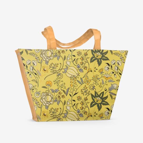 Пляжная сумка «Паттерн с желтыми абстрактными цветами»