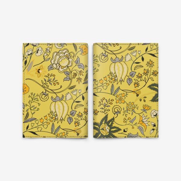 Обложка для паспорта «Паттерн с желтыми абстрактными цветами»