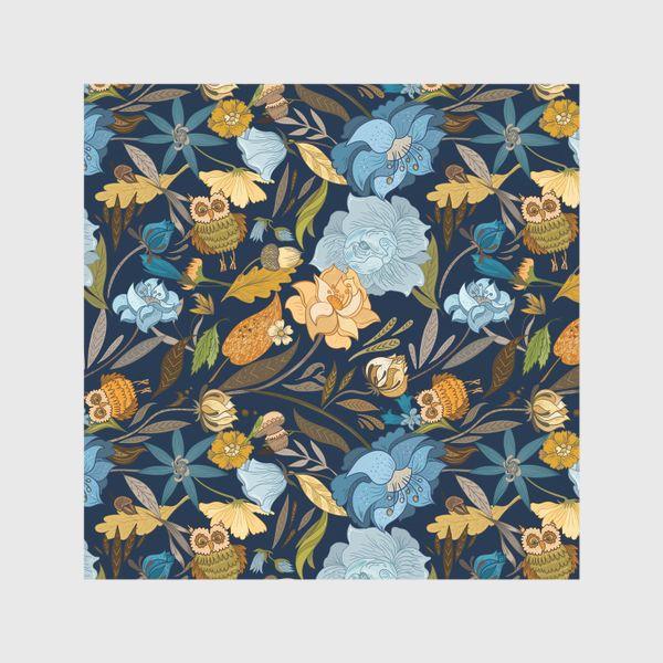 Шторы «Лесной осенний паттерн с совами и голубыми цветами на синем фоне»