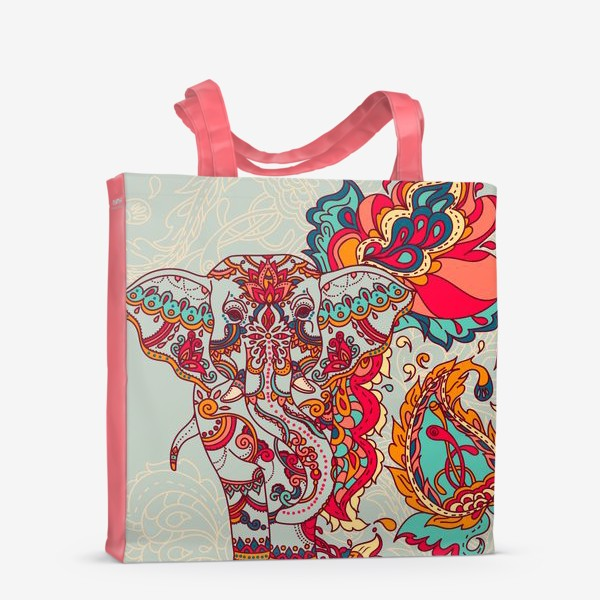 Сумка-шоппер «Индийский слон и яркий орнамент»