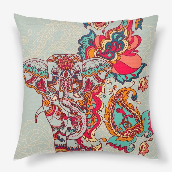 Подушка «Индийский слон и яркий орнамент»