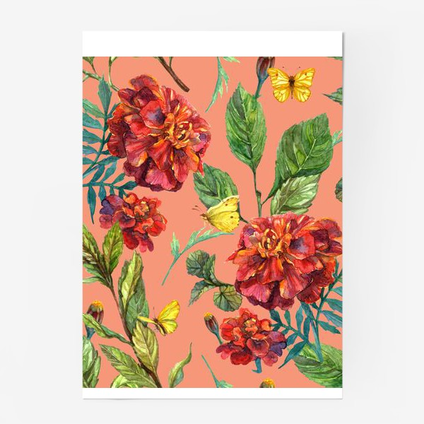 Постер «Цветы и бабочки»