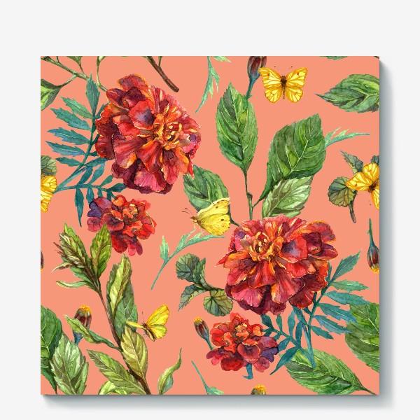 Холст «Цветы и бабочки»