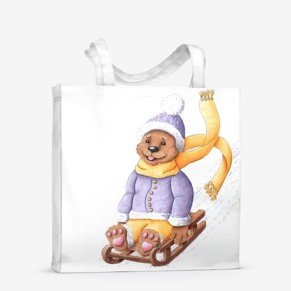 Сумка-шоппер «Мишка на санках»