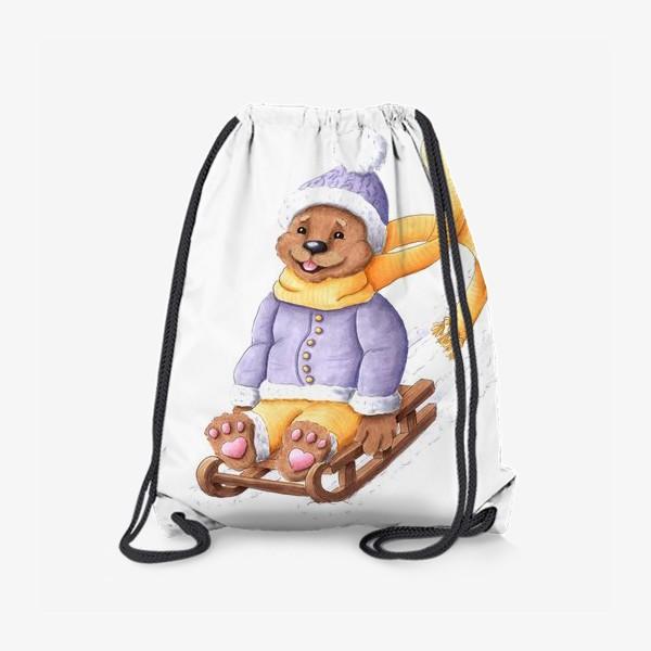 Рюкзак «Мишка на санках»