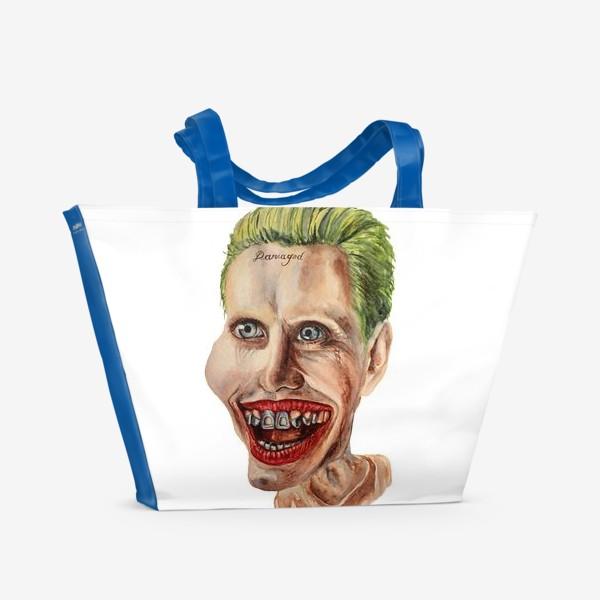 Пляжная сумка «Карикатура. Джокер. Шарж на актера, портрет, Jared Leto»