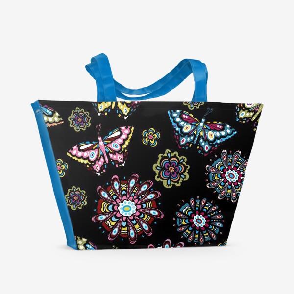 Пляжная сумка «Бабочки в саду»