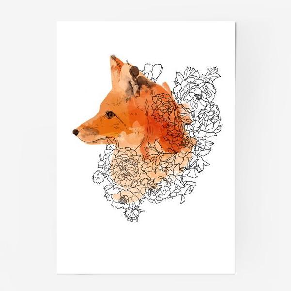 Постер «Акварельная лиса в цветах»