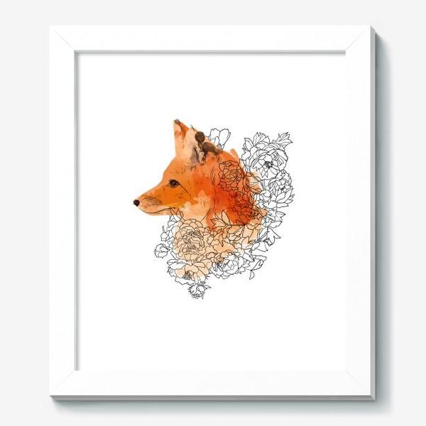 Картина «Акварельная лиса в цветах»