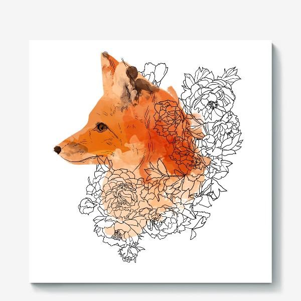 Холст «Акварельная лиса в цветах»