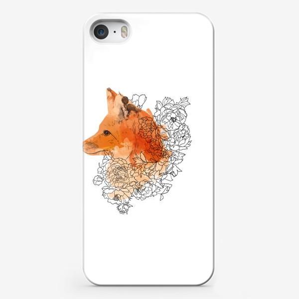 Чехол iPhone «Акварельная лиса в цветах»
