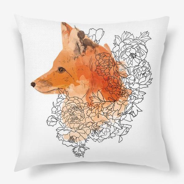 Подушка «Акварельная лиса в цветах»