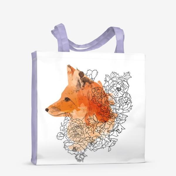 Сумка-шоппер «Акварельная лиса в цветах»