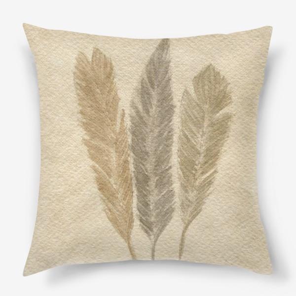Подушка « Кофейные перья »