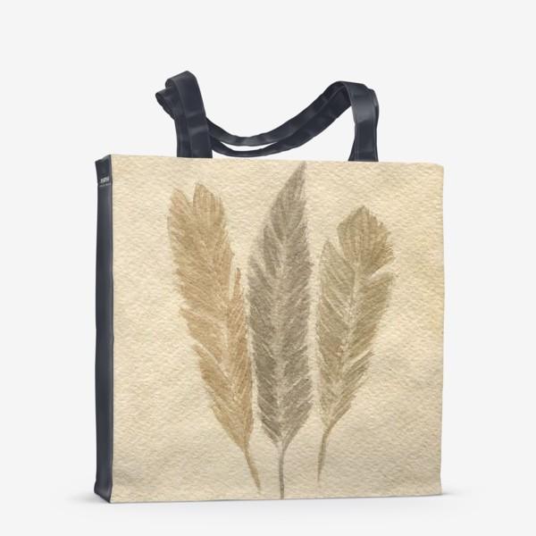 Сумка-шоппер « Кофейные перья »