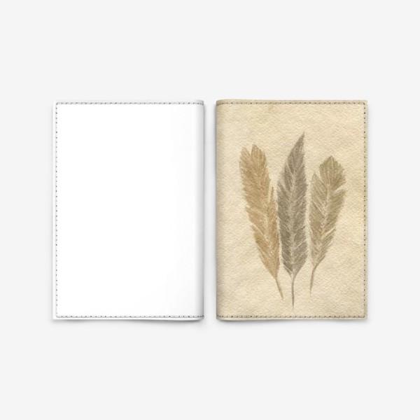 Обложка для паспорта « Кофейные перья »