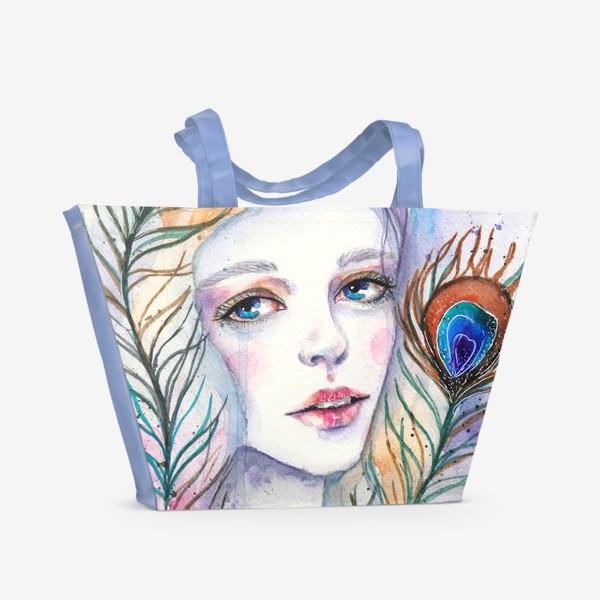 Пляжная сумка «Девушка-павлин»
