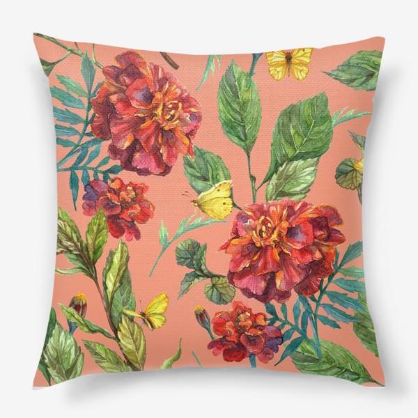 Подушка «Цветы и бабочки»