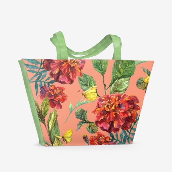 Пляжная сумка «Цветы и бабочки»