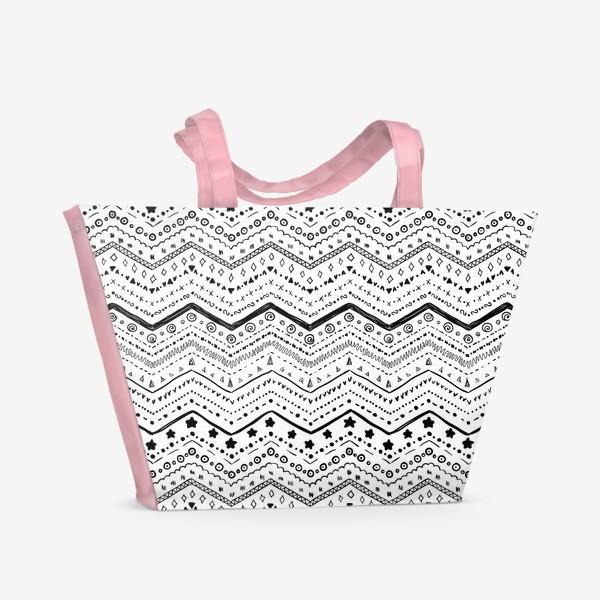 Пляжная сумка «Черные узоры на белом»