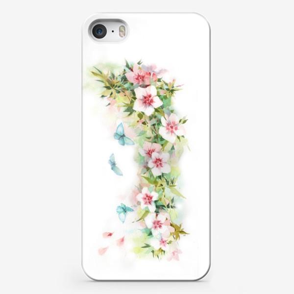 Чехол iPhone «Ф локсы с голубыми мотыльками»
