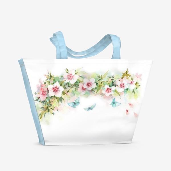 Пляжная сумка «Ф локсы с голубыми мотыльками»