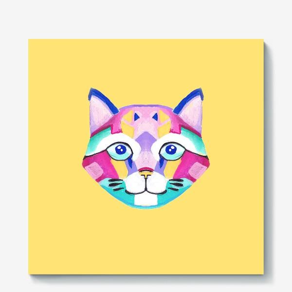 Холст «Геометричный Котик»