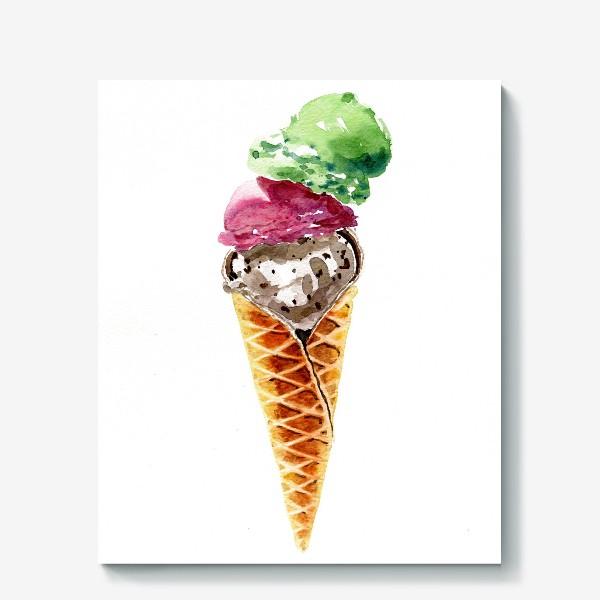 Холст «Три шарика мороженого в вафельном рожке»
