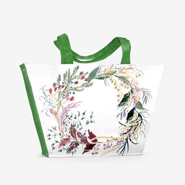 Пляжная сумка «Пышный венок из фантазийных растений»