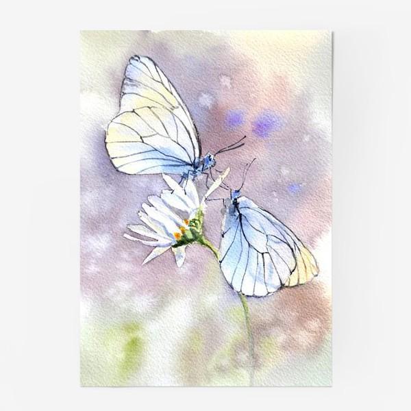 Постер «Акварель Встреча бабочек»