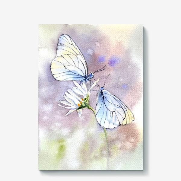 Холст «Акварель Встреча бабочек»