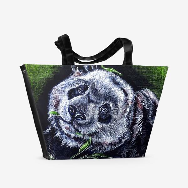 Пляжная сумка «панда и листик бамбука »