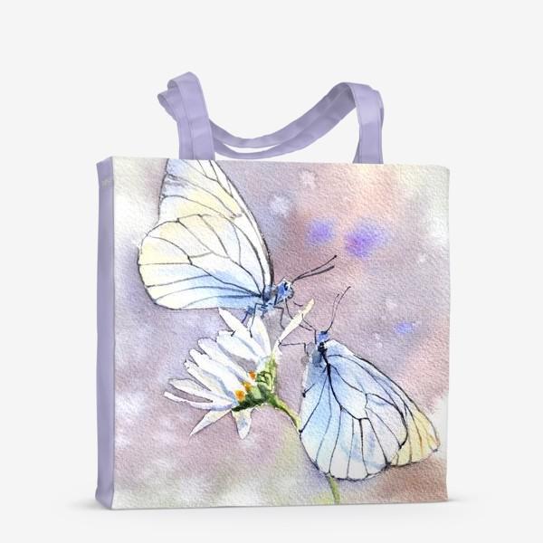 Сумка-шоппер «Акварель Встреча бабочек»