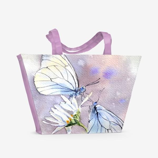 Пляжная сумка «Акварель Встреча бабочек»