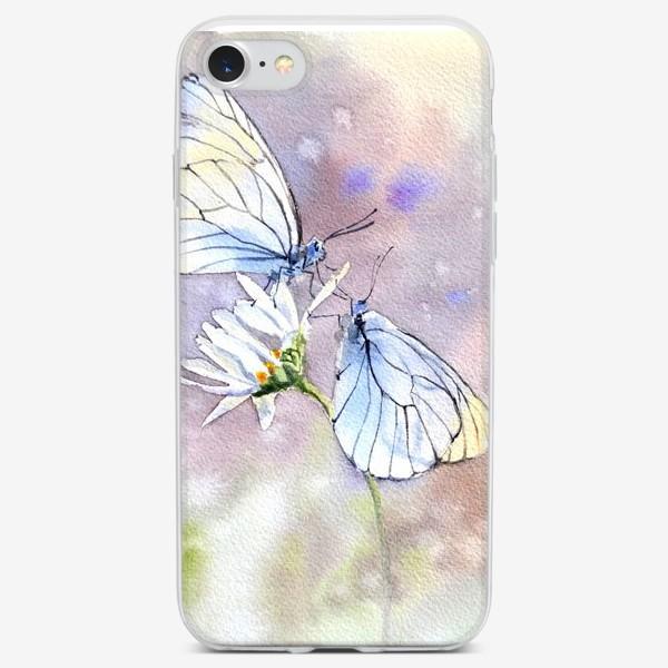 Чехол iPhone «Акварель Встреча бабочек»